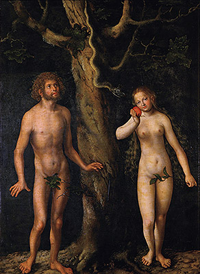 Adam and Eve, undated | Lucas Cranach | Painting Reproduction