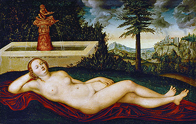 Reclining Water Nymph, undated | Lucas Cranach | Painting Reproduction