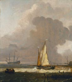 Bakhuysen | A Kaag Leaving the Shore in Stormy Weather | Giclée Canvas Print