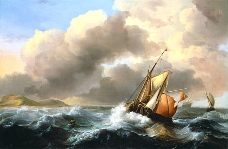 Fishing Vessels Offshore in a Heavy Sea, 1684   Bakhuysen   Painting Reproduction