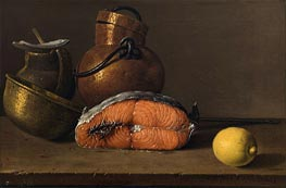 Still Life with Salmon, Lemon and Three Vessels, 1772 by Luis Egidio Meléndez | Giclée Canvas Print