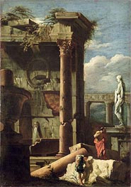 Marco Ricci   Ancient Building with a Statue and Decorative Figures, c.1720/25   Giclée Canvas Print