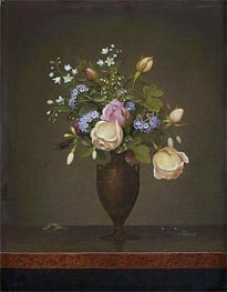 Martin Johnson Heade | Still Life with Flowers (Wildflowers in a Brown Vase), c.1860/65 | Giclée Canvas Print