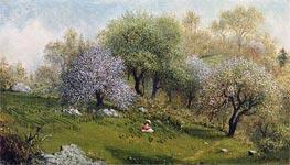 Martin Johnson Heade | Girl on a Hillside, Apple Blossoms, 1874 | Giclée Canvas Print