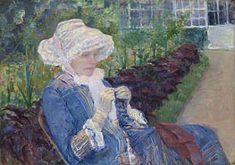 Lydia Crocheting in the Garden at Marly, 1880 by Cassatt | Giclée Canvas Print