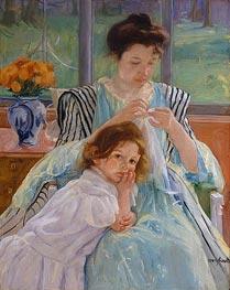 Young Mother Sewing, 1900 by Cassatt | Giclée Canvas Print