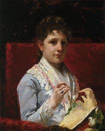 Mary Ellison Embroidering, 1877 by Cassatt | Giclée Canvas Print