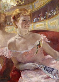 Woman with a Pearl Necklace in a Loge, 1879 by Cassatt | Giclée Canvas Print