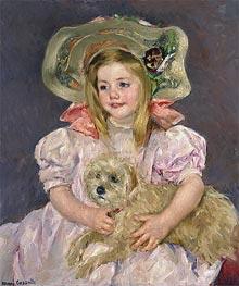 Smiling Sarah with Dog, c.1901 by Cassatt | Giclée Canvas Print