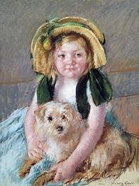 Sara with her Dog, c.1901 by Cassatt   Giclée Paper Print