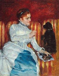 Cassatt | Woman on a Striped Sofa with a Dog, 1876 | Giclée Canvas Print