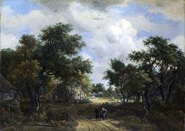 Meindert Hobbema | A Road Winding Past Cottages | Giclée Canvas Print