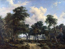 Meindert Hobbema | A Woody Landscape with a Cottage | Giclée Canvas Print