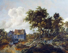 Meindert Hobbema | A Watermill Beside a Woody Lane | Giclée Canvas Print