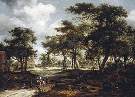 Meindert Hobbema | Wooded Landscape with Travellers and Beggars on a Road | Giclée Canvas Print