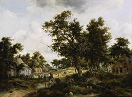 Meindert Hobbema | A Wooded Landscape with Travelers on a Path Through a Hamlet | Giclée Canvas Print