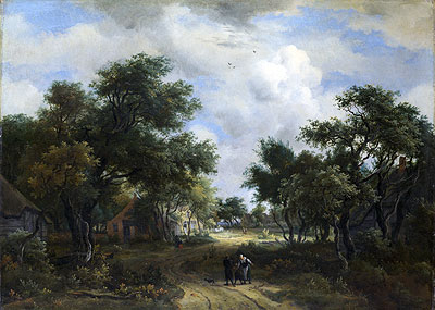 A Road Winding Past Cottages, c.1667/68   Meindert Hobbema   Painting Reproduction