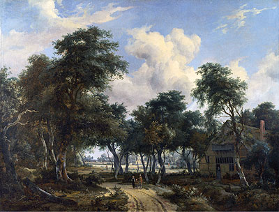 A Woody Landscape with a Cottage, c.1665   Meindert Hobbema   Painting Reproduction