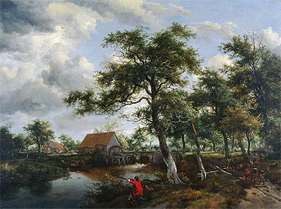 Wooded Landscape with Watermill, c.1665 | Meindert Hobbema | Painting Reproduction