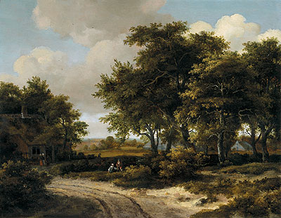 A Wooded Landscape with a Roadside Cottage, c.1663/68 | Meindert Hobbema | Painting Reproduction
