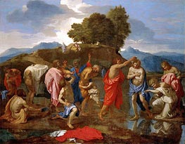 Nicolas Poussin | Christ Baptized by St John | Giclée Canvas Print