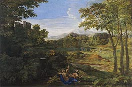 Nicolas Poussin | Landscape with Two Nymphs and a Snake, c.1659 | Giclée Canvas Print