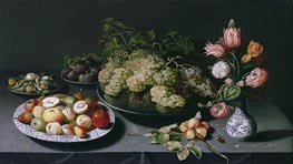 Osias Beert | Still Life with Apples, Grapes and a Vase of Flowers, c.1600/20 | Giclée Canvas Print