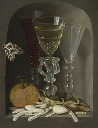 Osias Beert | A Still Life of Three Wine Glasses, an Orange, Sweetmeats, Hazelnuts and a Moth in a Stone Niche, undated | Giclée Canvas Print