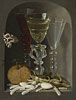 Beert - A Still Life of Three Wine Glasses, an Orange, Sweetmeats, Hazelnuts and a Moth in a Stone Niche - Art Print / Posters