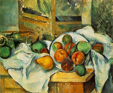 Table Napkin and Fruit, c.1895 | Cezanne | Painting Reproduction