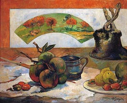 Still Life with Fruits and Fan, 1888 by Gauguin | Giclée Canvas Print