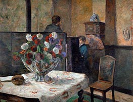 Still Life with Flowers (Interior of the Artist's Apartment on Rue Carcel, Paris), undated by Gauguin | Giclée Canvas Print