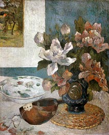 Still life with Peonies and Mandolin, 1885 by Gauguin | Giclée Canvas Print