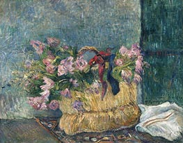 Still Life with Moss Roses in a Basket, 1886 by Gauguin | Giclée Canvas Print