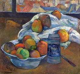 Bowl of Fruit and Tankard before a Window, c.1890 by Gauguin | Giclée Canvas Print