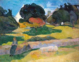 Girl Herding Pigs, 1889 by Gauguin | Giclée Canvas Print