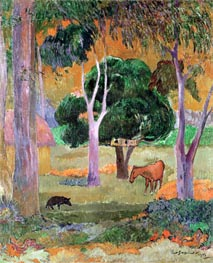 Dominican Landscape or, Landscape with a Pig and Horse, 1903 by Gauguin | Giclée Canvas Print