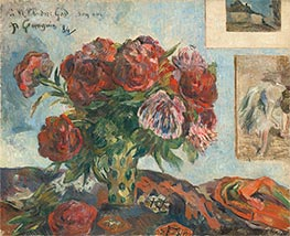 Still Life with Peonies, 1884 by Gauguin   Giclée Canvas Print