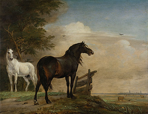 Two Horses in a Meadow near a Gate, 1649 | Paulus Potter | Painting Reproduction