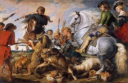 Wolf and Fox Hunt, c.1615/21 by Rubens | Giclée Canvas Print