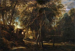 A Forest at Dawn with a Deer Hunt, c.1635 by Rubens | Giclée Canvas Print