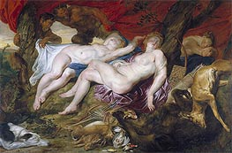 Diana and her Nymphs Spied upon by Satyrs, c.1616 by Rubens | Giclée Canvas Print