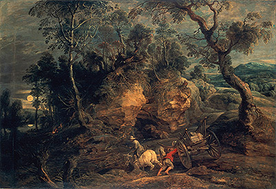 Landscape with Stone Carriers, c.1620 | Rubens | Painting Reproduction