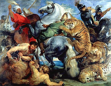 Tiger, Lion and Leopard Hunt, 1616 | Rubens | Painting Reproduction