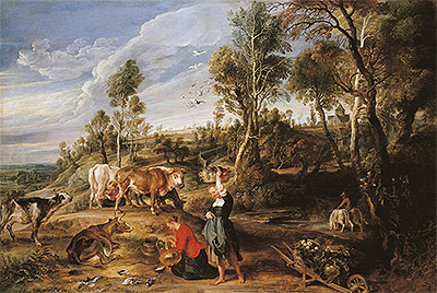 Milkmaids with Cattle in a Landscape (The Farm at Laken), c.1617/18 | Rubens | Painting Reproduction