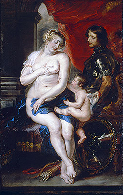 Venus, Mars and Cupid, undated   Rubens   Painting Reproduction