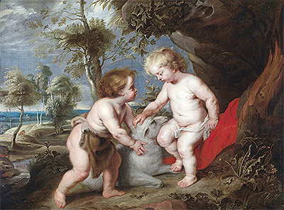 The Christ Child and the Infant John the Baptist, undated | Rubens | Painting Reproduction
