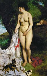 Renoir | Bather with Griffon Terrier | Giclée Canvas Print