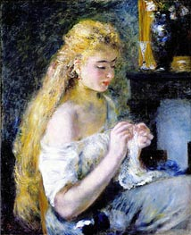 Renoir | A Girl Crocheting, c.1875 | Giclée Canvas Print