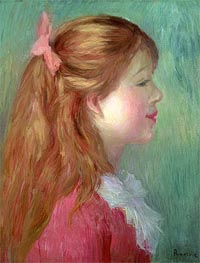 Renoir | Young Girl with Long Hair in Profile, 1890 | Giclée Canvas Print